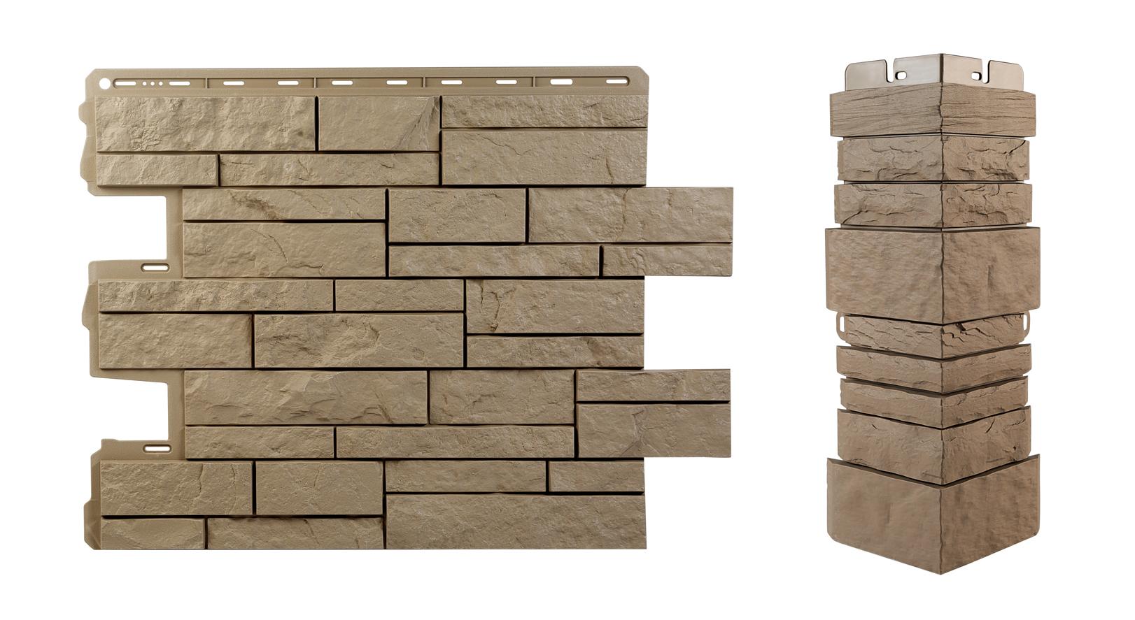 Фасадная панель под Камень Шотландия с комплектующими углом и облицовочной планкой