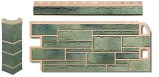 Фасадная панель под Камень с комплектующими углом и облицовочной планкой
