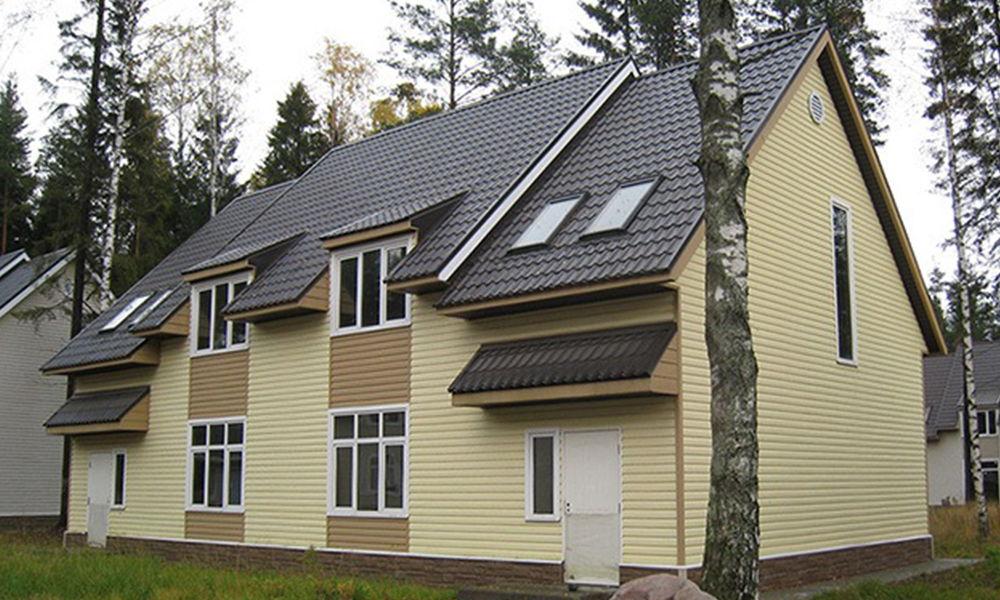 Сайдинг Блок хаус Слим на доме, фото
