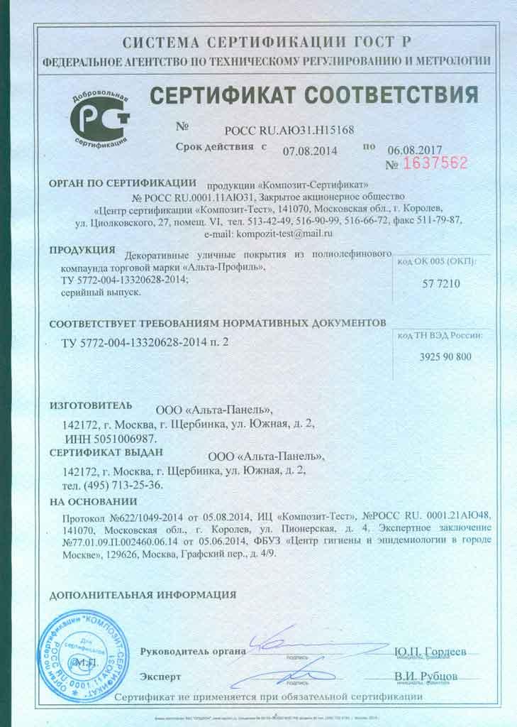 Газонная решетка Сертификат-соответствия