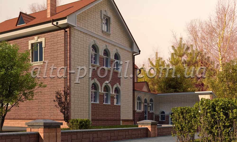 Фото дома облицованого цокольным сайдингом камень гранит