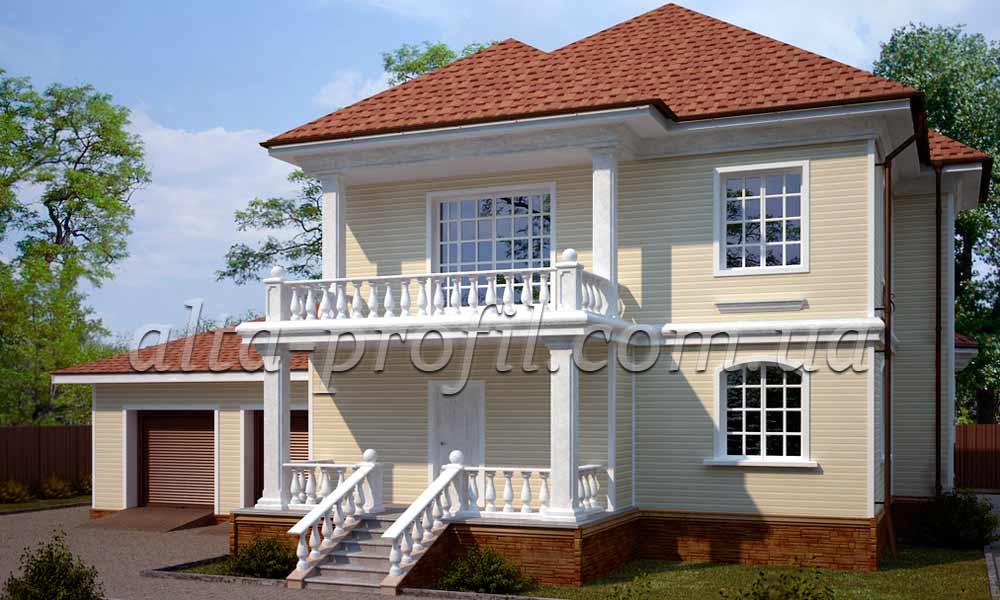кремовый сайдинг на доме, фото