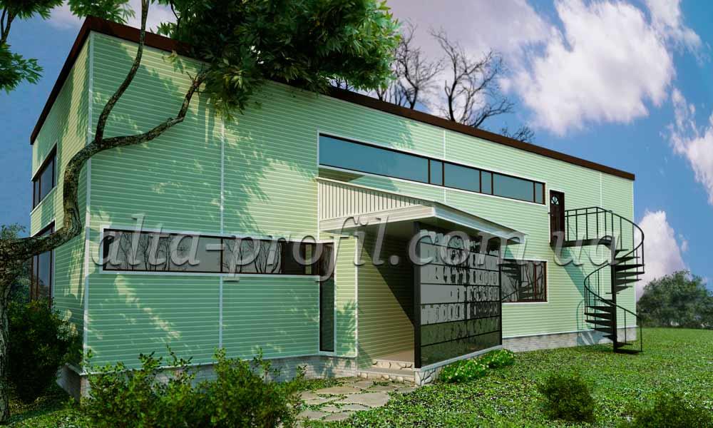 зеленый сайдинг на фасаде дома, фото