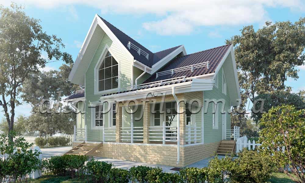 оливковый сайдинг и фасадные панели на фото дома