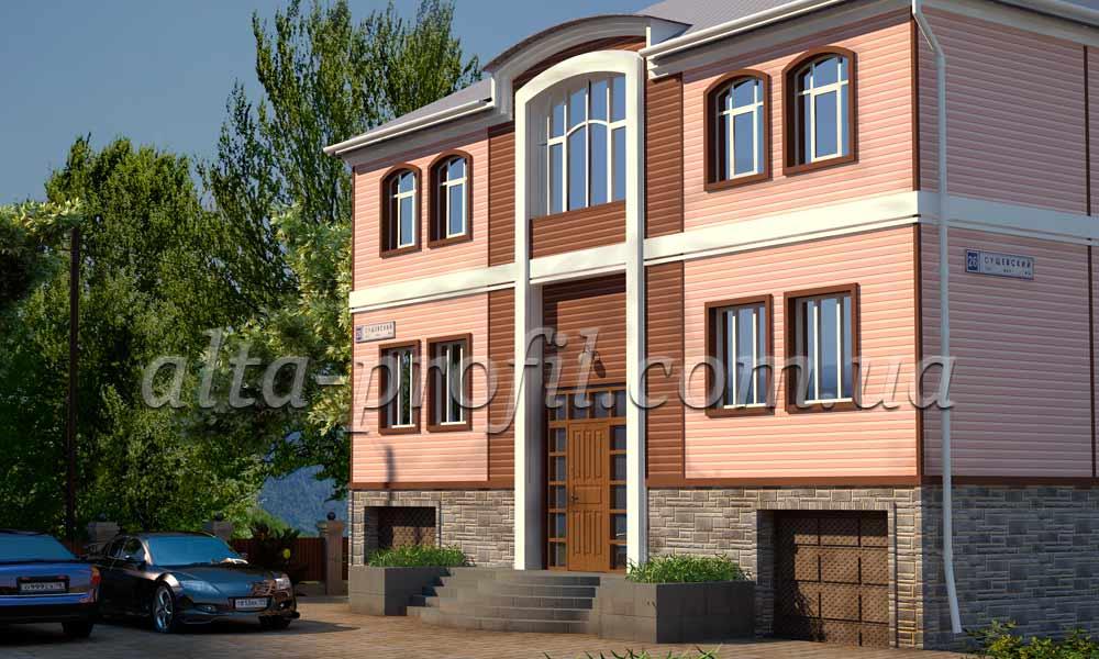 дизайн дома с розовым сайдингом и сайдингом дуб светлый