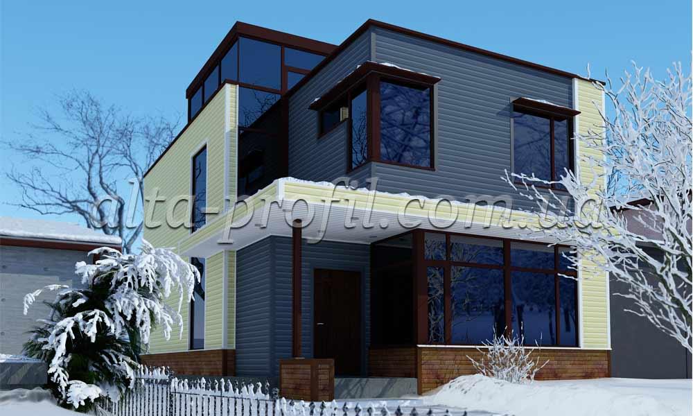 модель дома с желтым и серым сайдингом