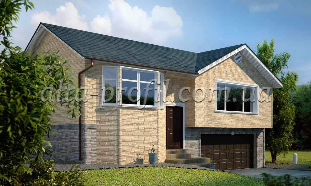макет дома с цокольным сайдином под камень