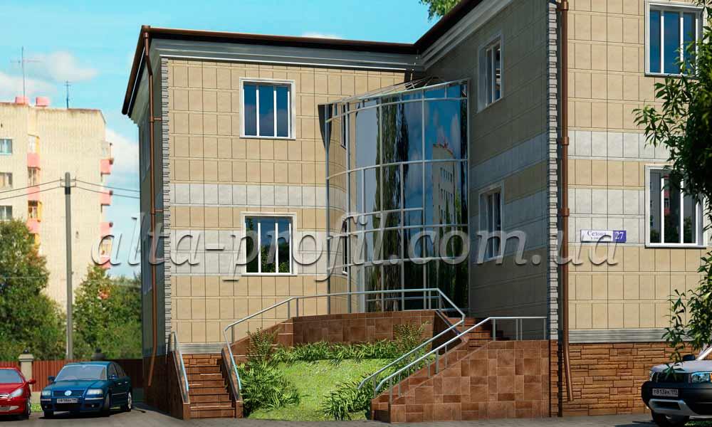 промышленное здание с фасадными панелями на фото